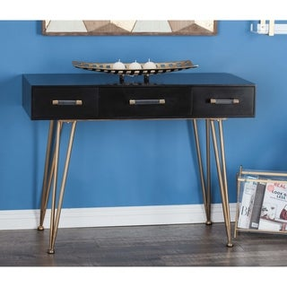 Modern Rectangular Black and Gold Console Table by Studio 350 - N/A