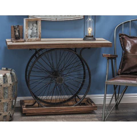 38 x 28 Industrial Black Metal Wheels & Wood Console Table by Studio 350