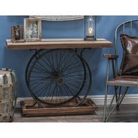 "38"" x 28"" Industrial Black Metal Wheels & Wood Console Table by Studio 350"