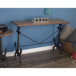 Coastal Iron and Fir Wood Anchor Design Console Table by Studio 350