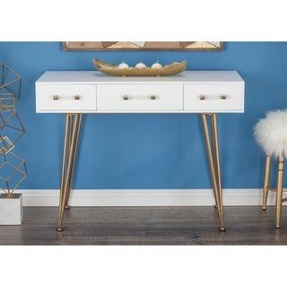 Studio 350 Wood Metal White White, Gold Console Table