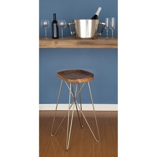 Contemporary 30 Inch Light Brown Wood and Iron Broken Circle Bar Stool