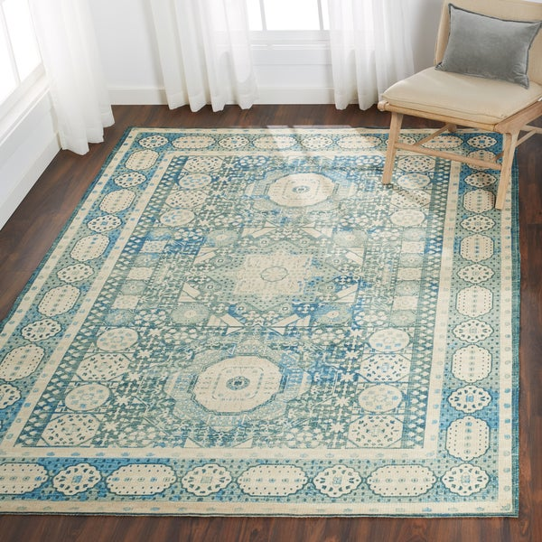 Shop Nourison Madera Teal Area Rug