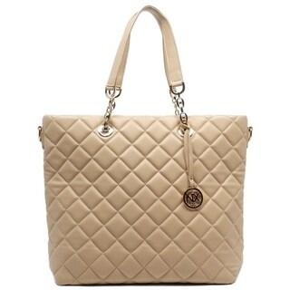 Noble Exchange Quilted Nude Tote Handbag