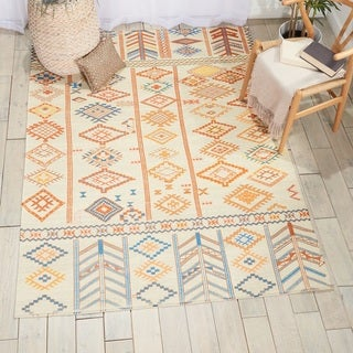 Nourison Madera Ivory/Orange Geometric Area Rug (6'6 x 9'6)