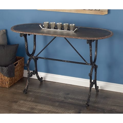 Farmhouse 29 x 45 Inch Distressed Metal Console Table by Studio 350