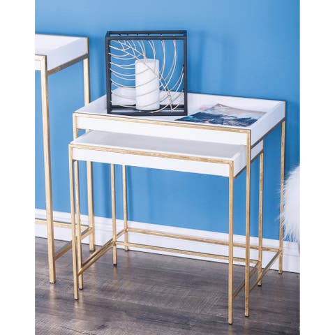 Contemporary Rectangular Gold Console Table Set by Studio 351