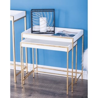 Studio 350 Metal Wood Gold, White Console Table Set of 2