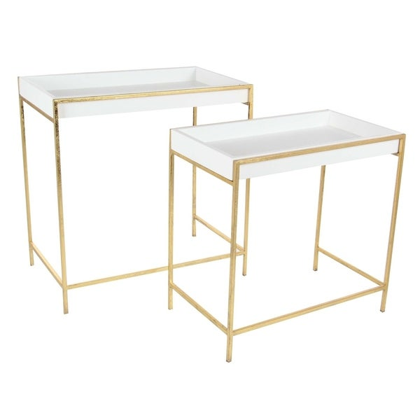 Studio 350 Metal Wood Gold White Console Table Set of 2  sc 1 st  Overstock & Studio 350 Metal Wood Gold White Console Table Set of 2 - Free ...