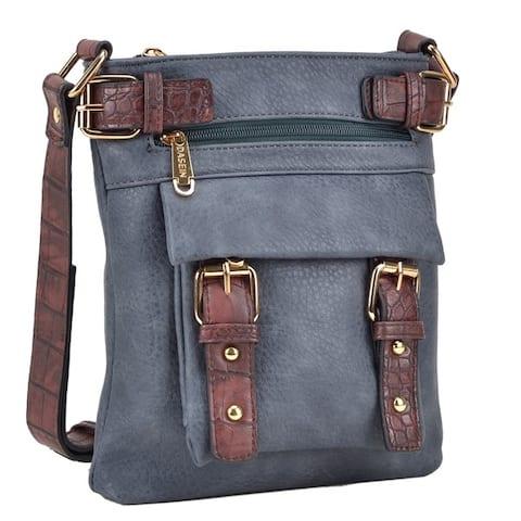 Dasein Top Belted Soft Water Wash Crossbody/ Messenger Bag with 48-inch Shoulder Strap