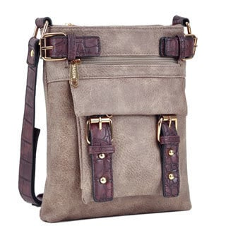 Dasein Top Belted Soft Water Wash Crossbody/ Messenger Bag with 48-inch Shoulder Strap
