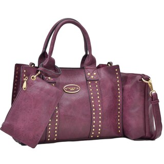 Dasein Middle Studded Tote with Detachable Organizer Bag/ Pouch and Matching Wristlet (Option: Burgundy)