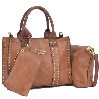 Dasein Middle Studded Tote with Detachable Organizer Bag/ Pouch and Matching Wristlet (Option: Brown/Coffee)