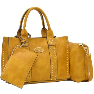 Dasein Middle Studded Tote with Detachable Organizer Bag/ Pouch and Matching Wristlet (Option: Tan)