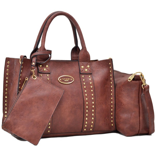 Dasein Middle Studded Tote with Detachable Organizer Bag/ Pouch and Matching Wristlet