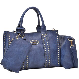 Dasein Middle Studded Tote with Detachable Organizer Bag/ Pouch and Matching Wristlet (Option: Dark Blue)