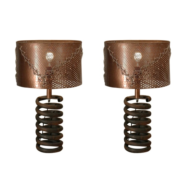 Rivet and Rust Coil Lamps With Copper Shades (Set of 2)
