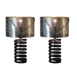Rivet and Rust Industrial Coil Lamps With Silver Shades (Set of 2)