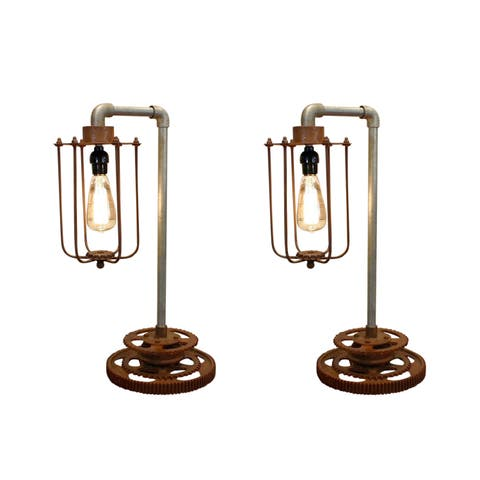 Rivet and Rust Industrial Gear Lamps (Set of 2)