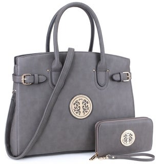 Dasein Emblem and Side Buckle Deco Satchel and with Matching Wallet
