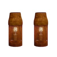 Rivet and Rust Industrial Brown Metal Cylinder Lamps (Set of 2)