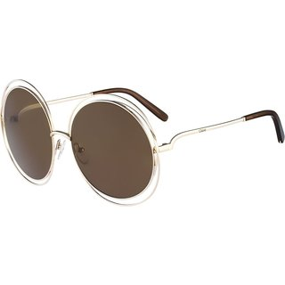 Chloe Carlina Round CE114S Women's Gold Frame Transparent Brown Lens Sunglasses