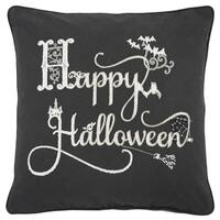 Rizzy Home 'Happy Halloween' Black/White Cotton  20x20 Throw Pillow