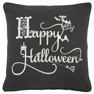 Rizzy Home 'Happy Halloween' Black/White Cotton Embroidered Throw Pillow