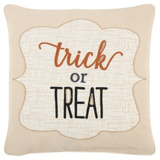 Rizzy Home Beige 20 x 20 Halloween Trick or Treat Throw Pillow