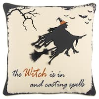 Rizzy Home Halloween Beige/Black 20 x 20 Witch Flying Throw Pillow