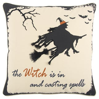 Rizzy Home Halloween Beige/Black 20-inch x 20-inch Witch Flying Throw Pillow