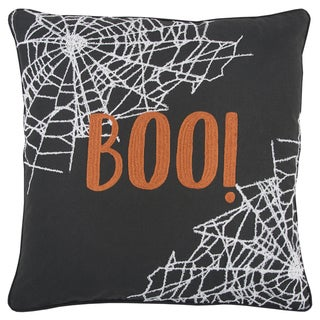 Rizzy Home 'BOO!' Halloween Quotes/Sayings Black/White 20 x 20-inch Decorative Throw Pillow