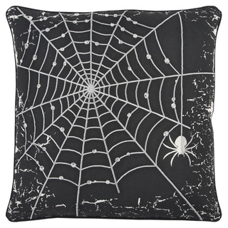 Rizzy Home Black/Silver 20x20 Cotton-blend Spider Web Throw Pillow