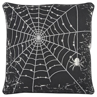 Rizzy Home Black/Silver Cotton-blend Halloween-themed Decorative Spider Web Throw Pillow