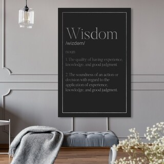 Oliver Gal 'Wisdom Typography SILVER' Canvas Art