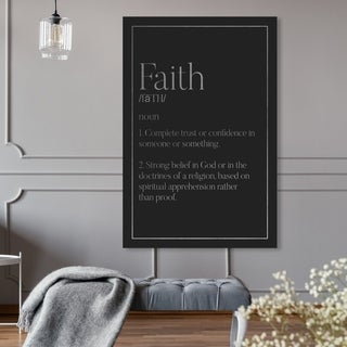 Oliver Gal 'Faith Typography SILVER' Typography and Quotes Wall Art Canvas Print - Black, Gray