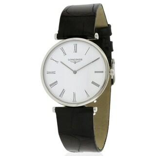 Longines La Grande Men's Classique Stainless Steel Black Leather Watch