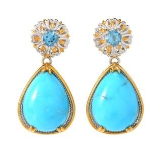 Michael Valitutti Palladium Silver Kingman Turquoise & Swiss Blue Topaz Dangle Earrings