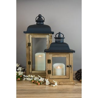 LightLi Wooden Lantern with Flameless Moving Flame Candle