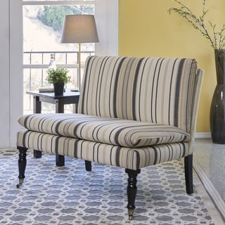 Handy Living Petersburg Brown/Black Stripe Pillow Top Armless Settee