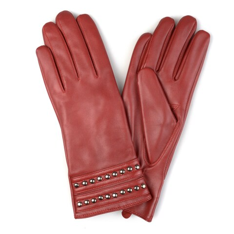 Journee Collection Women's Fashion Genuine Leather Studded Gloves