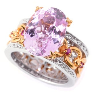 Michael Valitutti Palladium Silver Kunzite & Pink Sapphire Chain Link Wide Band Ring