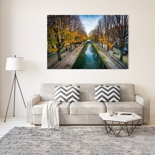 Noir Gallery Fall Color at Canal Saint-Martin in Paris Photo Print on Metal.