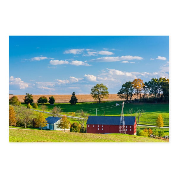 Noir Gallery Red Barn and Farm in Pennsylvania Countryside Photo Print on Metal.