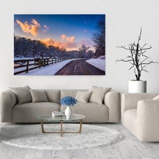 Noir Gallery Rural Pennsylvania Road Winter Sunset Photo Print on Metal.