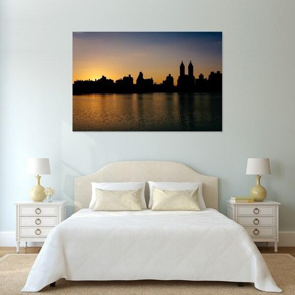 Noir Gallery Central Park Reservoir Sunset in New York Photo Print on Metal.