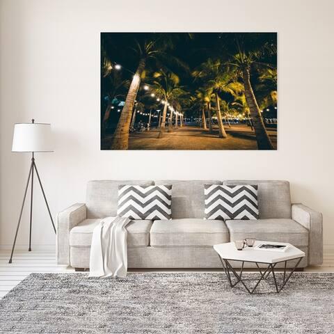 Noir Gallery Manila, Philippines Palm Trees at Night Photo Print on Metal.