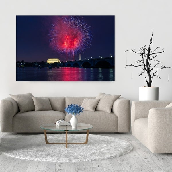 Noir Gallery Fourth Of July Fireworks In Washington, DC Photo Print On  Metal.