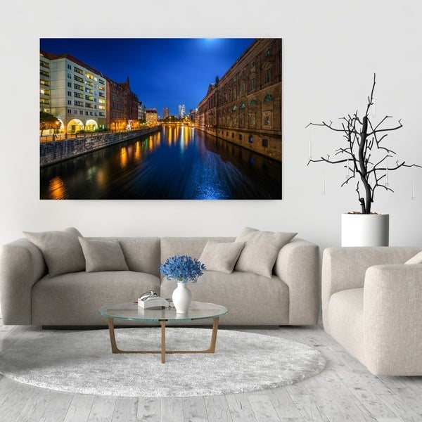 Noir Gallery Berlin, Germany River at Night Photo Print on Metal.
