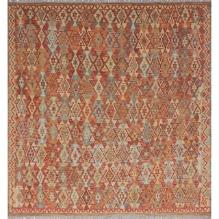 Sangat Kilim Neeshaat Red/Orange Rug (9'4 x 9'6)
